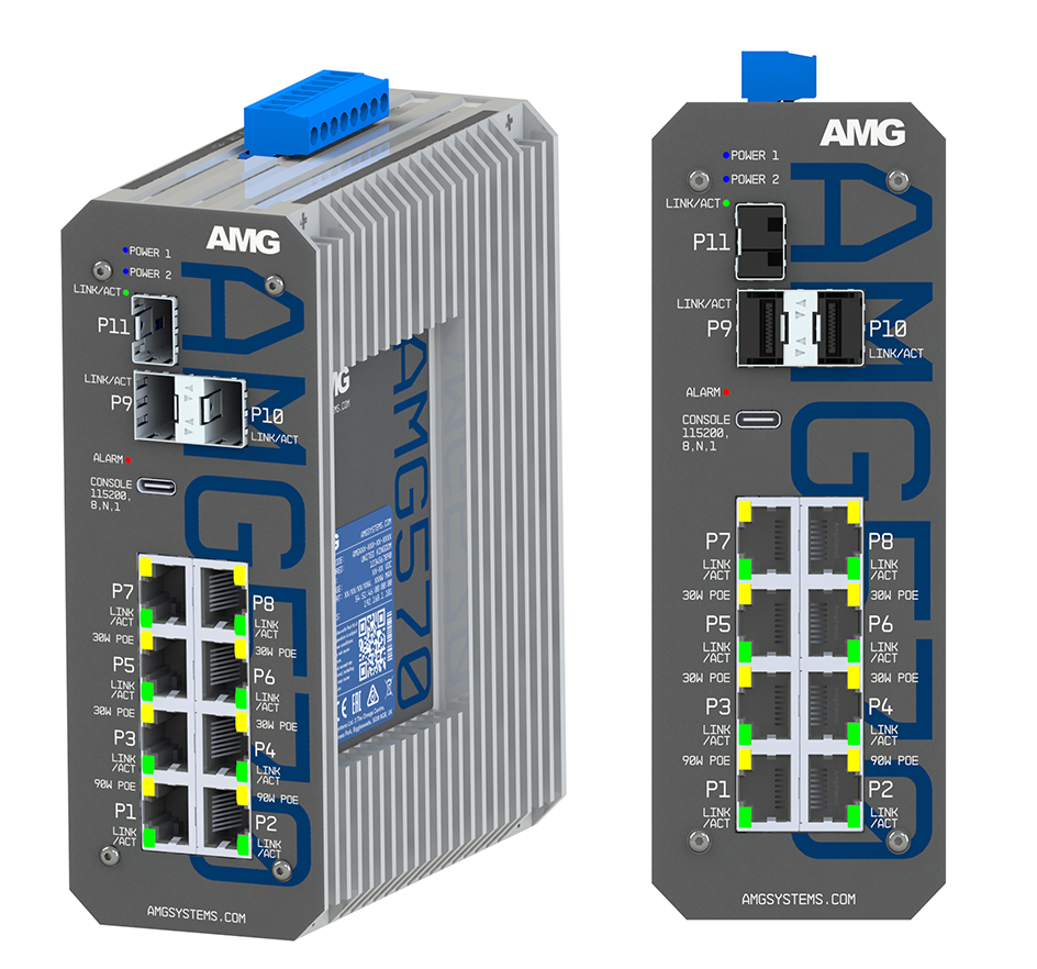 AMG570 83 2x 90W 4x 30W PoE 2x Non PoE Front Side View